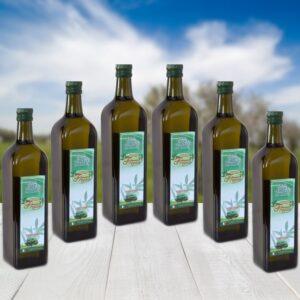 6 bottiglie da 1 lt di olio extra vergine di oliva